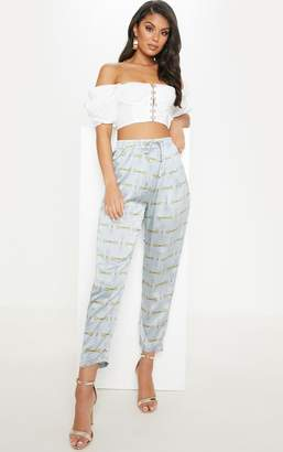 PrettyLittleThing Dusty Blue Satin Chain Print Cigarette Trouser