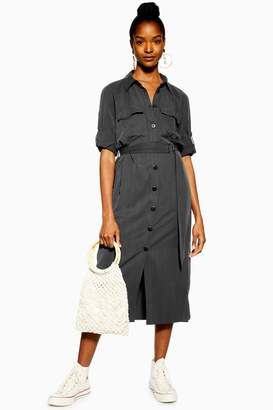 f6802e92482e1 Topshop Womens Black Utility Midi Shirt Dress - Black
