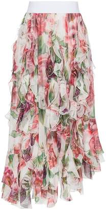 Dolce & Gabbana high waisted peony print ruffle silk blend skirt