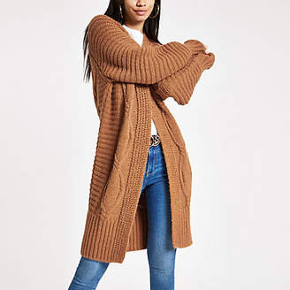 River Island Womens Brown cable knit longline maxi cardigan