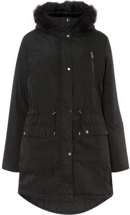 Womens **DP Curve Black Parka Coat