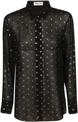 Saint Laurent Embellished See-through Shirt