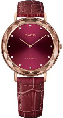 Jowissa Women's Aura 39mm Burgundy Leather Band Quartz Dial Watch J5.564.l