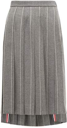 Thom Browne Chalk Striped Pleated Wool Midi Skirt - Womens - Grey