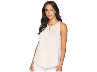 Vince Camuto Sleeveless Rumple Keyhole Halter Blouse Women's Clothing