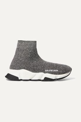 Balenciaga Speed Logo-print Metallic Stretch-knit High-top Sneakers - Gray