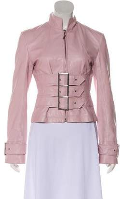 Herve Leger Leather Stand Collar Jacket