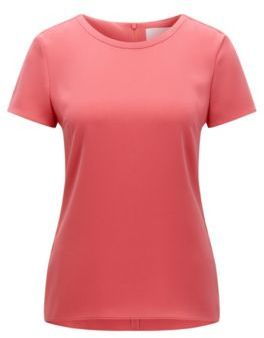 Hugo Boss Ilyna Crepe Short Sleeved Blouse 2 Red $215 thestylecure.com