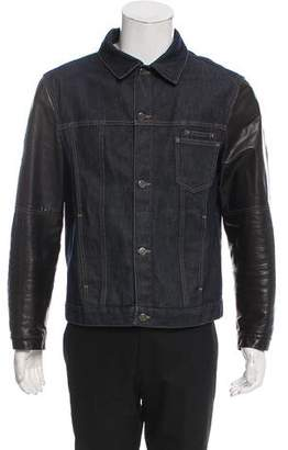 Neil Barrett Leather-Trimmed Denim Jacket