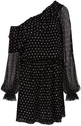 Saint Laurent Frilled Polka Dot Dress