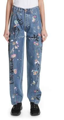 Vetements Ribal Sticker Straight Leg Jeans