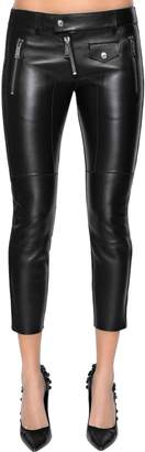 DSQUARED2 Cropped Leather Biker Pants
