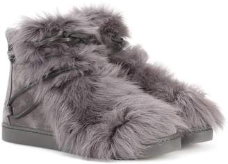 Gianvito Rossi Inuit fur-trimmed suede ankle boots