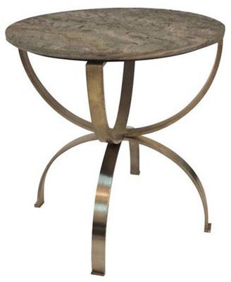 Crestview Collection Begal Manor Curved Aged Brass Round Accent Table with Textured Marble Top