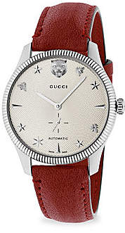 Gucci Women's G-Timeless Stainless Steel Case 40MM Automatic Silver Guilloché Dial Red Leather Watch