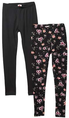 Poof Floral & Solid Fleece Lined Leggings - Pack of 2 (Big Girls)