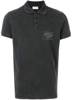 Saint Laurent logo print polo shirt