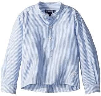 Vilebrequin Kids Striped Linen Round Collar Shirt Boy's Swimwear