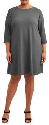 Terra & Sky Women's Plus Size Long Sleeve Knit Dress with Tie Back
