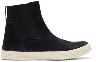 Rick Owens Black and Off-White Suede Mastodon Elastic Boots