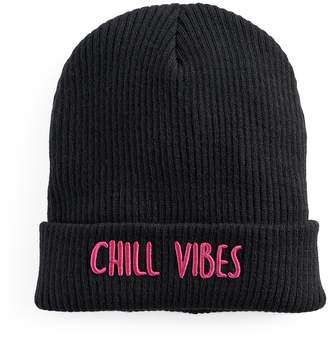 """Mudd Women's Embroidered """"Chill Vibes"""" Beanie"""