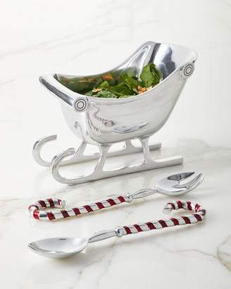 Godinger Sleigh Salad Bowl with Candy Cane Servers