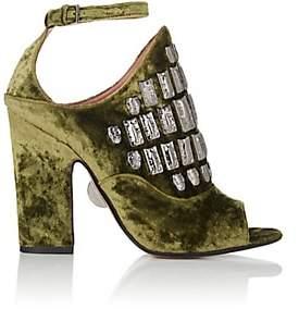 Samuele Failli Women's Maya Velvet Halter Sandals-Md. Green Size 7