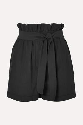 3.1 Phillip Lim Belted Crinkled Cotton-blend Shorts - Black