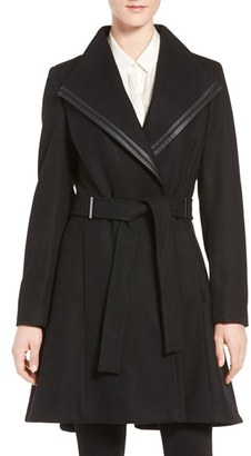 Women's Calvin Klein Wool Blend Skirted Wrap Coat $348 thestylecure.com