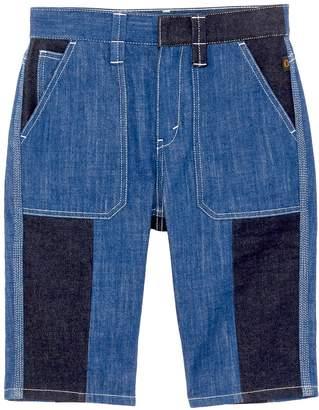 Chloé Contrast topstitching colourblock denim patchwork Bermuda shorts