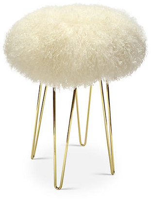 Le-Coterie Curly Hairpin Counter Stool - Brass/Cream