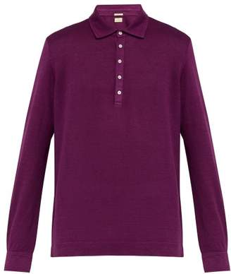 Massimo Alba Linen Pique Polo Shirt - Mens - Purple