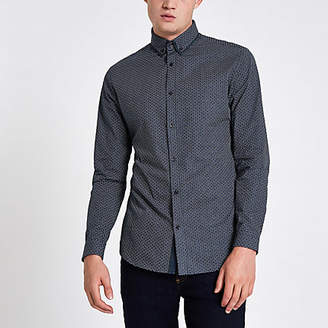River Island Mens Navy tile print double collar shirt