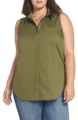 Sejour Sleeveless Button Front Top