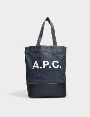 A.P.C. Axel Tote Bag in Dark Navy Canvas and Smooth Leather