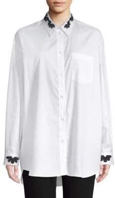 Simone Rocha Beaded Cotton Button-Down Shirt