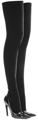 Balenciaga Velvet and patent leather over-the-knee boots