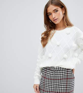 Fashion Union Petite petite sweater with pom poms