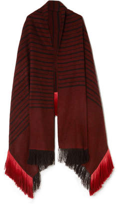 MELT - Kamal Fringed Striped Herringbone Yak And Camel-blend Wrap - Burgundy