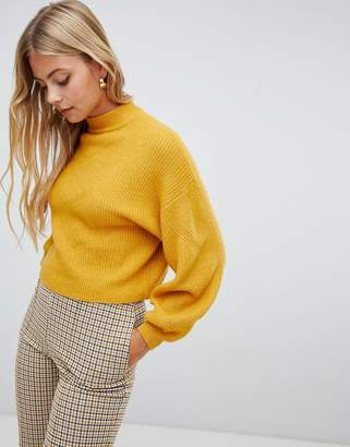 Miss Selfridge balloon sleeve sweater in ochre