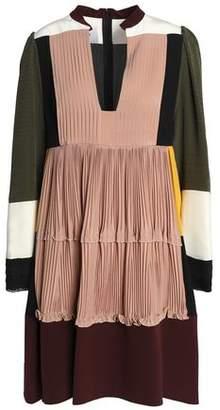 Valentino Paneled Pleated Silk Crepe De Chine Mini Dress
