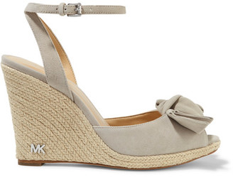 MICHAEL Michael Kors - Willa Suede Espadrille Wedge Sandals - Gray $150 thestylecure.com