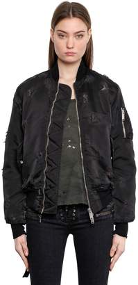 Unravel Destroyed Nylon Bomber Jacket