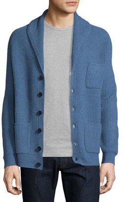 Neiman Marcus Ribbed Cashmere Shawl Pocket Cardigan, Denim $495 thestylecure.com