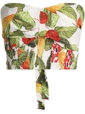 Isolda Strapless Printed Cotton-Blend Bustier Top
