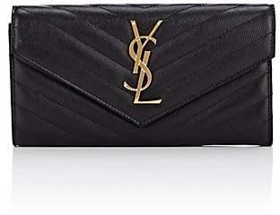 Saint Laurent Women's Monogram Large Leather Envelope Wallet