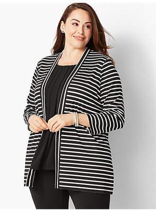Talbots Plus Size Knit Jersey Open Cardigan - Derby Stripe