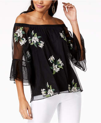 Thalia Sodi Embroidered-Mesh Off-The-Shoulder Top, Created for Macy's