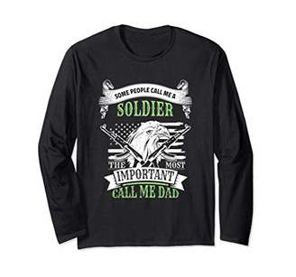 Soldier Dad American Flag Eagle Merica Military USA Long Sleeve T-Shirt