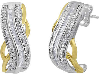 FINE JEWELRY 1/4 CT. T.W. Diamond Hoop Earrings in Sterling Silver and 14K Yellow Gold Accent